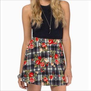 Tobi Blue Plaid Floral Skirt W/ Exposed Zipper S